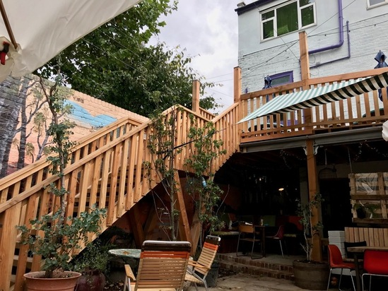 Stairs constructed from Douglas Fir timber