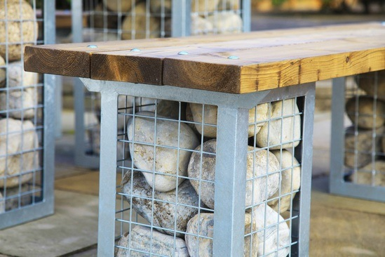 Gabion Picnic Table And Bench Set Woodberry Of