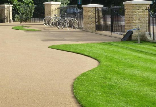 Steel edging enables sinuous curves into the landscape.