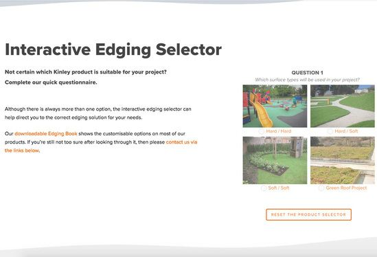 Kinley now provides an interactive edging selector