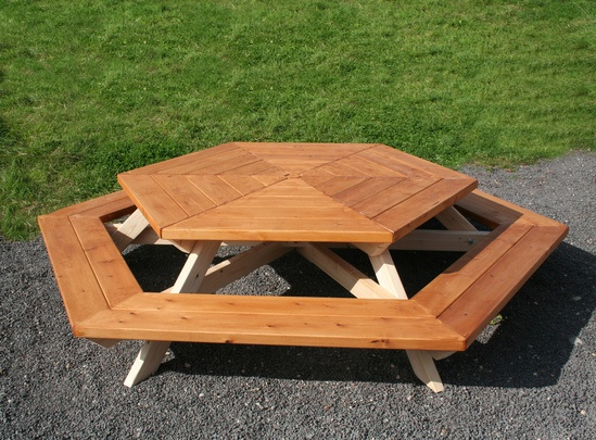 Sheldon All Timber Hexagonal Picnic Table - SPT303