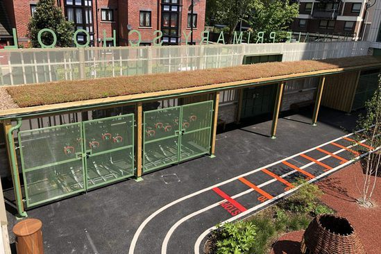 Sedum roof cycle shelter for primary school