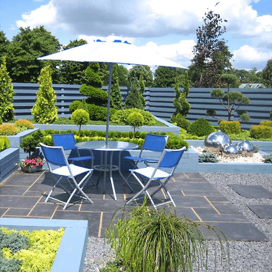 Blue slate chippings 20mm derbyshire specialist for Blue slate garden designs