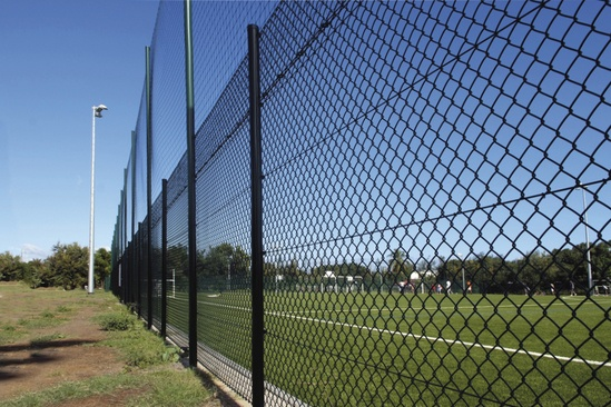 Chain link fencing for sports pitch