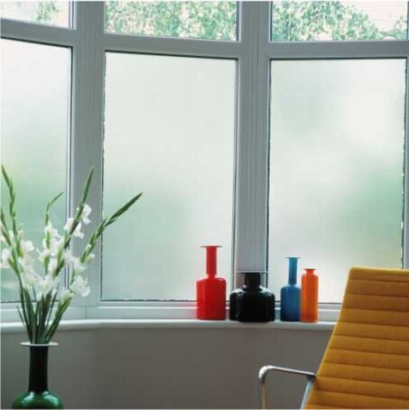 Plain frosted window film for a bay window