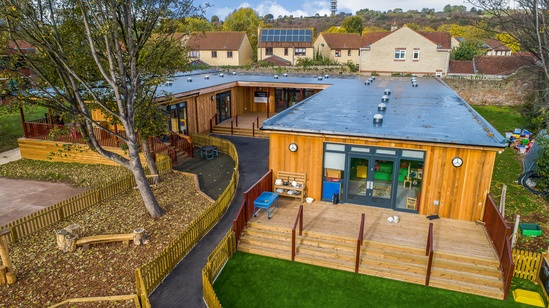 Overview of the eco classroom and decked areas
