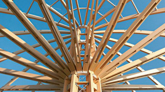 Spruce glulam beams for roof frames