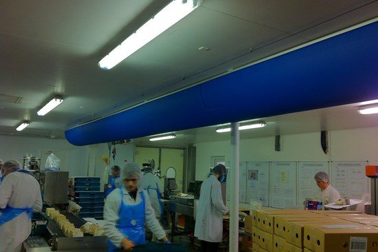 Cheese production - half round fabric duct from Prihoda