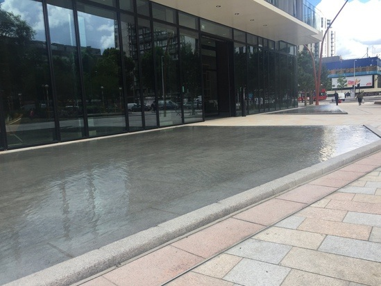 Water flows into pools through sumps, Elephant & Castle