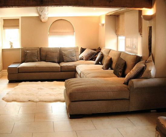 Sectional with chaise in family room contemporary with living room - Bespoke Sofas Fitz Impressions Esi Interior Design