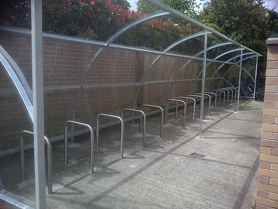 Dargle 30 - glazed, steel cycle shelter for 30 bikes