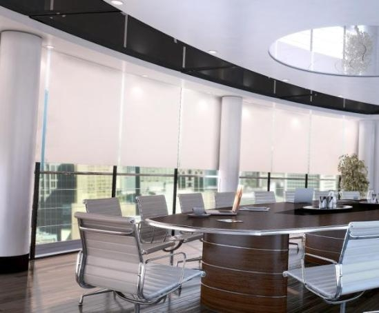 conference facility displaying clean manual blinds