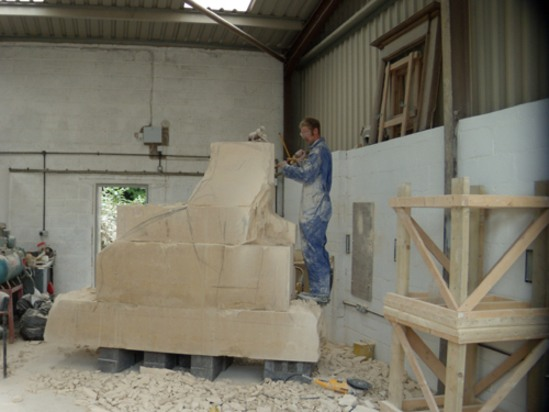 Bath limestone bear sculpture for leicestershire village for Bathroom builders leicester
