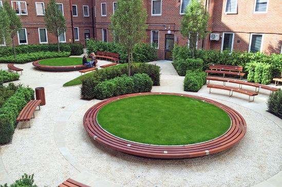 Bespoke large circular planters for Guy's & St Thomas'