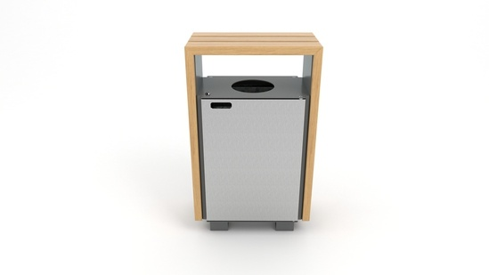 Bloc Bin in FSC hardwood and stainless steel