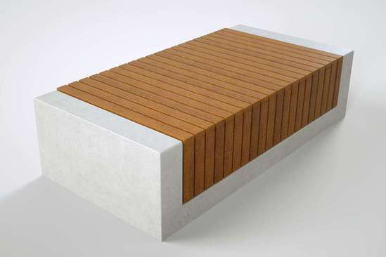 RAKT 0.9m wide concrete bench with timber slats