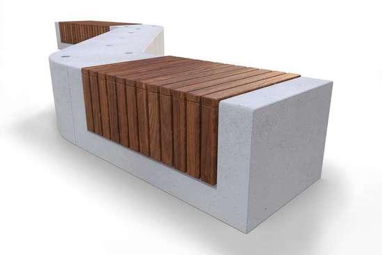 RAKT 0.6m wide concrete bench with timber slats
