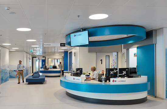 Formica laminate used in hospital reception areas