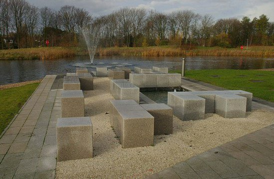 Fountain And Lake Water Feature Nottingham University