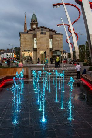 Illuminated fountains, Lisburn Town Centre