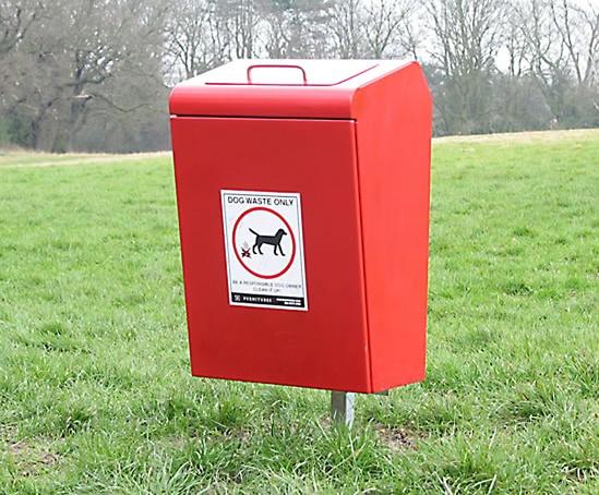 LUK745F Lucky steel dog waste bin root fixed in red