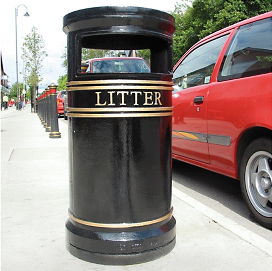 COV803 LR Covent Garden bin with ashtray and stubber