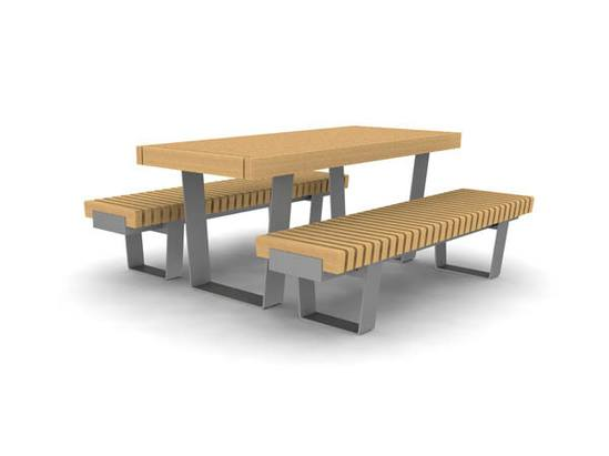 RailRoad Delta picnic table with narrow benches