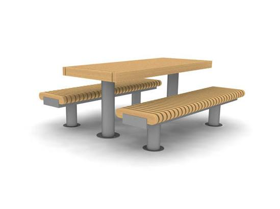 RailRoad Loop picnic table with narrow benches