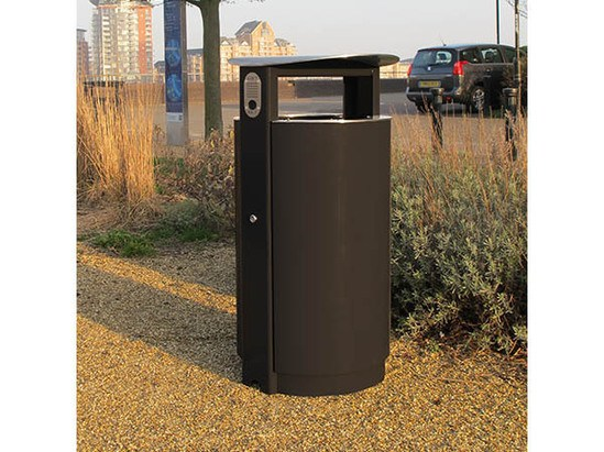 ARC5- PPC black bin with lid, s/s door rim