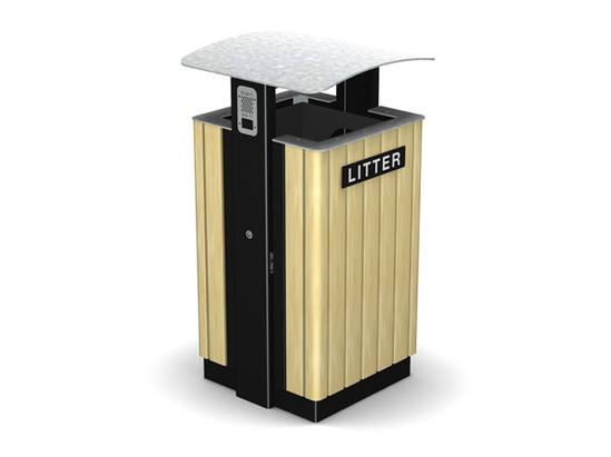 ARC 8T -PPC black with lid, timber slats & stubber