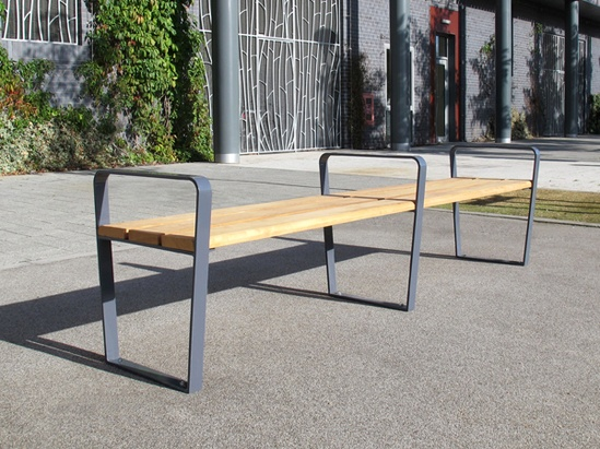 Steel Bench Seats : Ribbon steel timber seats benches furnitubes