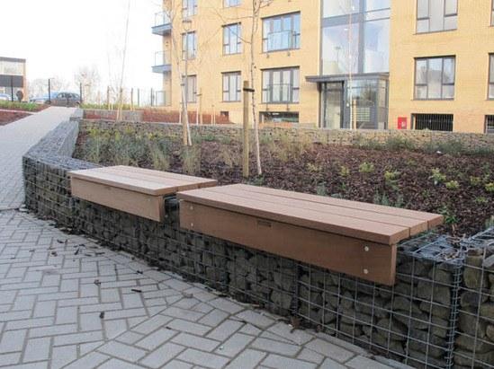 Bench platforms outside new residential development