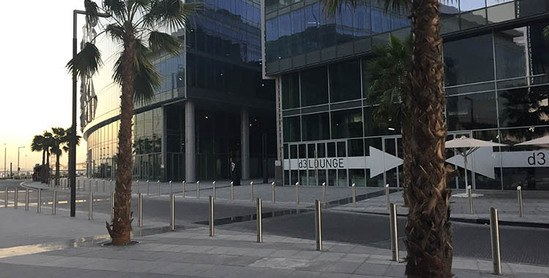 Zenith sloped bollards outside Dubai Design Disrtrict