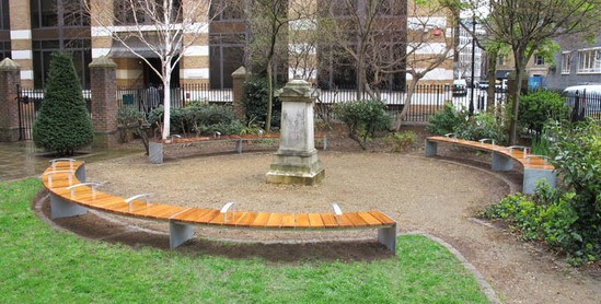 Bespoke timber benches at Mark Street Gardens, Hackney