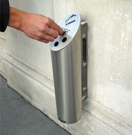 Cigarette bin mounted on a wall