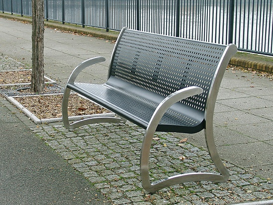 Liverpool Steel & Stainless Steel Seat black perforated