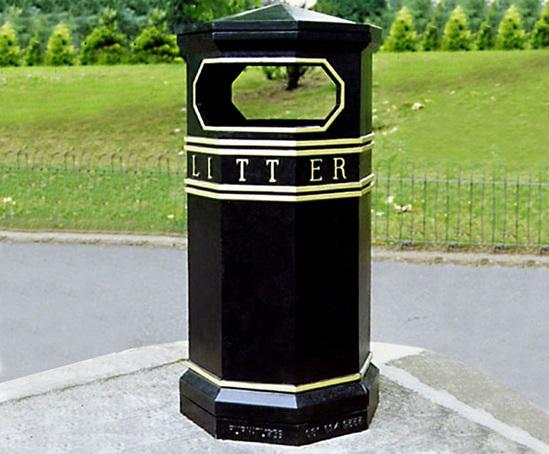 COV902 LR Covent Garden Octagonal litter bin
