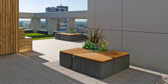 Roof terrace with Uniun seating and planters