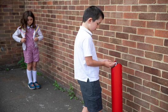 Zenith hand sanitiser dispenser KIDS in PPC red