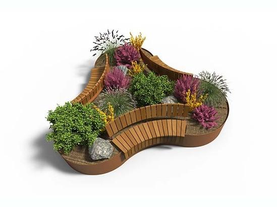 AKRI 600 raised planter with seating
