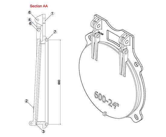 Althon 600mm ductile iron flap valve