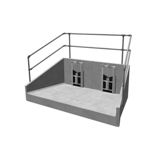 Precast concrete headwall with penstocks