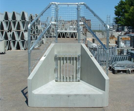 Standard precast concrete headwall with handrail