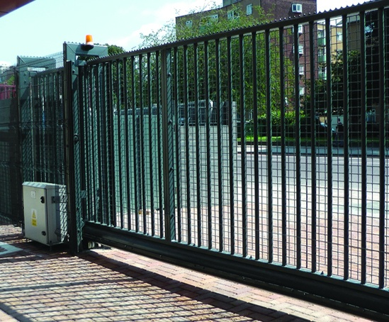 Sentry® sliding gate, clad with mesh
