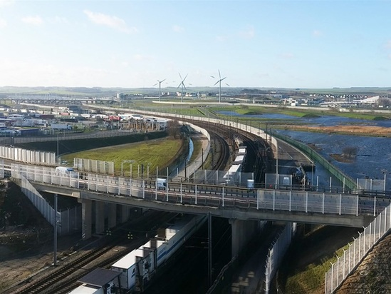 Aerial view of Eurotunnel entrance perimeter fence