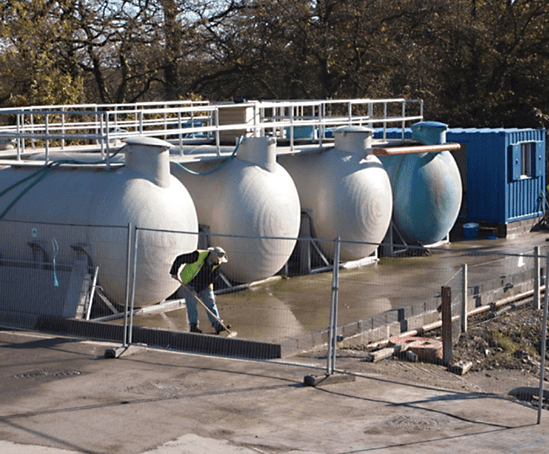 Temporary wastewater treatment plant at Nantycaws