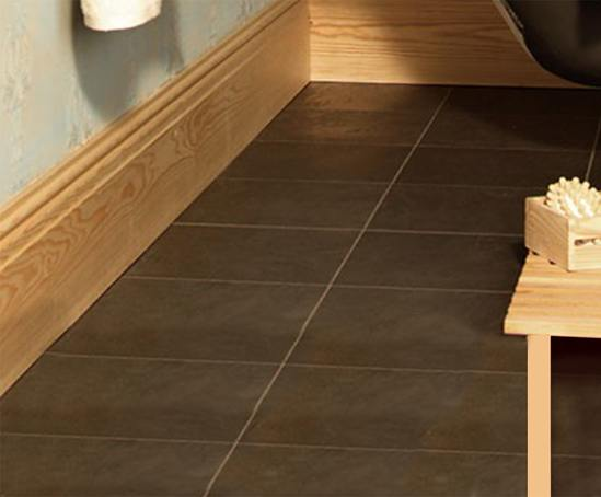 Softwood skirting boards used in a domestic setting