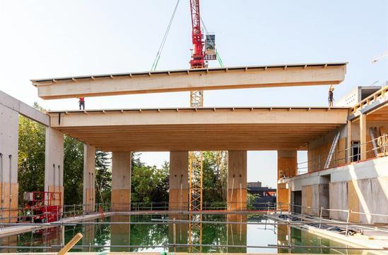 Kerto LVL (laminated veneer lumber) roof beams