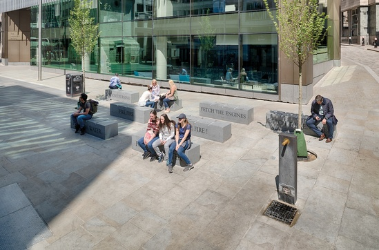 Scoutmoor Yorkstone paving and Prospero granite benches