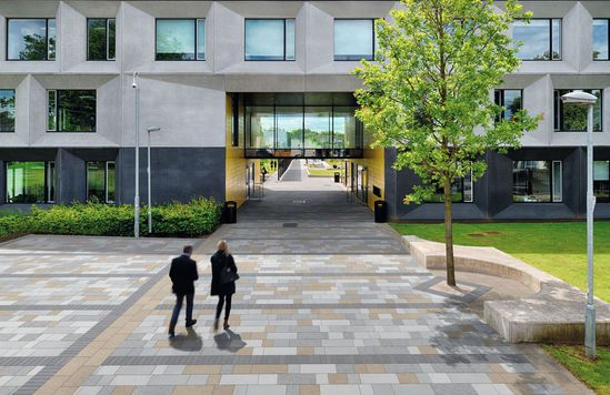 Myriad paving - Sunlight with mixed grey paving